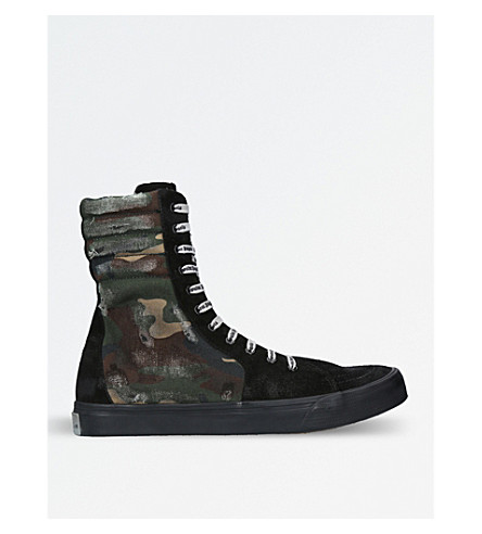 PALM ANGELS Camouflage-print distressed canvas high-top trainers (Black/comb