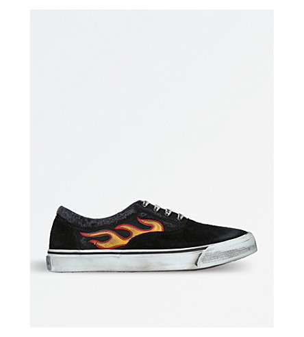 PALM ANGELS Flame-appliqué distressed canvas and suede trainers (Black