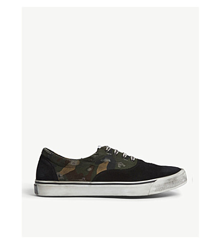 PALM ANGELS Distressed camouflage canvas trainers (Black/comb
