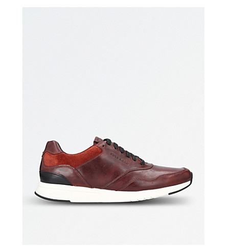 COLE HAAN Grandpro leather and suede trainers (Brown