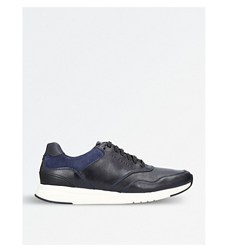 COLE HAAN Grandprø Running leather and suede trainers (Navy