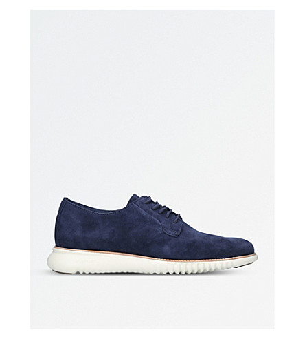 COLE HAAN Deconstructed Suede Derby shoes (Navy