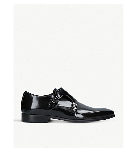 KURT GEIGER LONDON Route patent leather monk shoes (Black