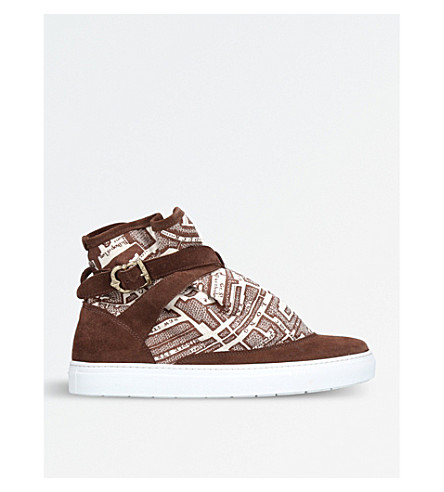 THE HIGHPAD Highpad map-print suede and canvas trainers (Brown