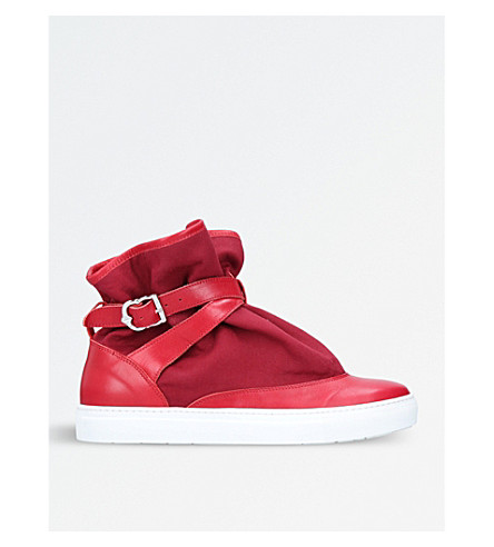 THE HIGHPAD Highpad leather and canvas trainers (Red