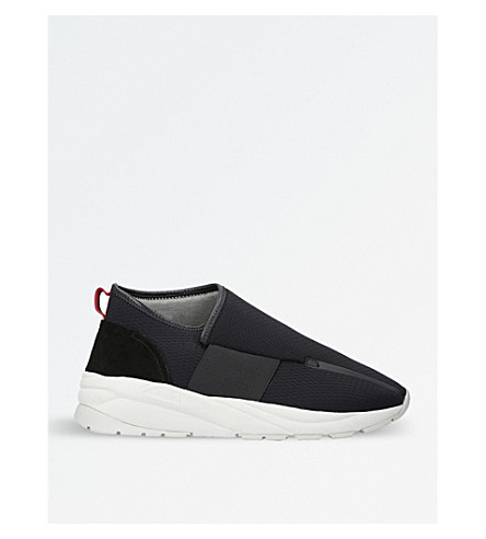 CASBIA Vetta asymmetric mesh and suede trainers (Black