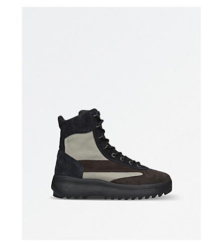 YEEZY Season 5 leather and nylon military boots (Green