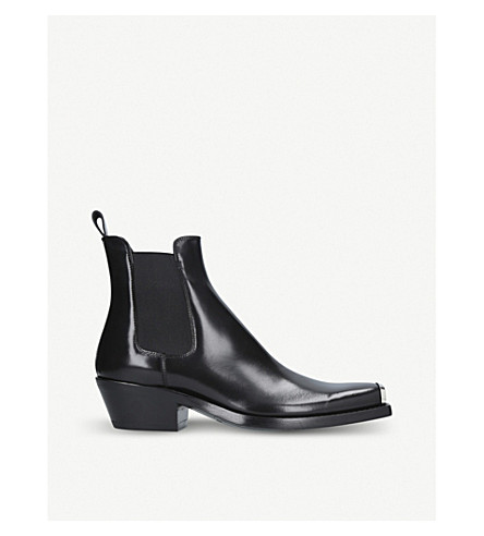 CALVIN KLEIN COLLECTION Western Chris Abrasivato leather Chelsea boot (Black