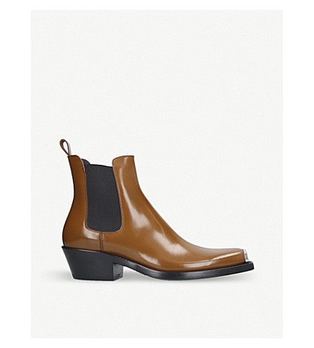CALVIN KLEIN COLLECTION Western Chris Abrasivato leather Chelsea boot (Tan