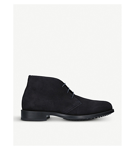 KURT GEIGER LONDON Balfour lace-up suede desert boots (Navy
