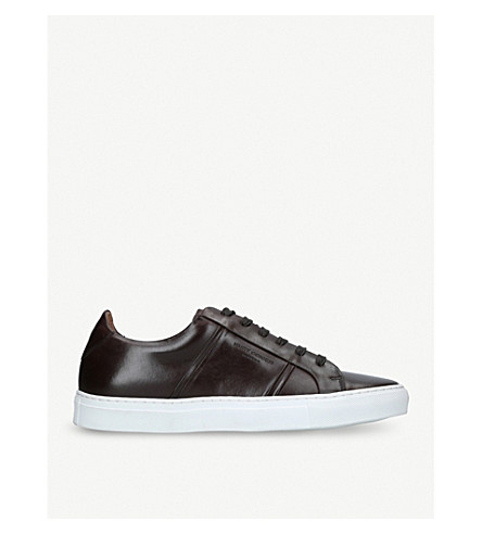 KURT GEIGER LONDON Grosvenor low-top leather trainers (Brown