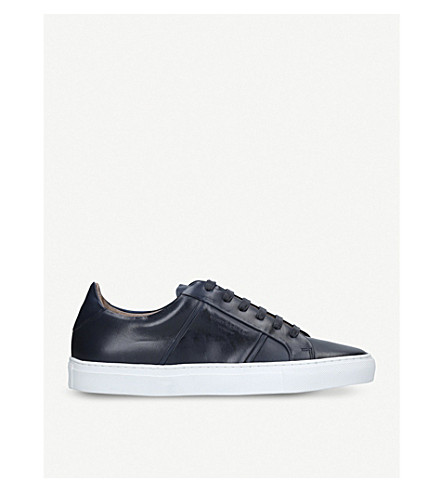 KURT GEIGER LONDON Grosvenor low-top leather trainers (Navy
