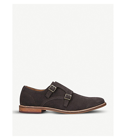 KURT GEIGER LONDON Digby double-buckle suede monk shoes (Brown