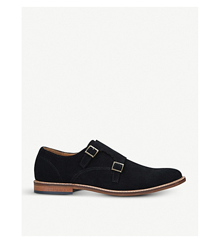 KURT GEIGER LONDON Digby double-buckle suede monk shoes (Navy
