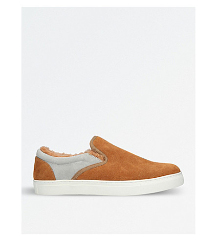 UNDERCOVER Shearling-lined suede skate shoes (Tan+comb
