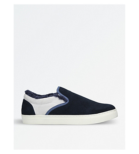 UNDERCOVER Shearling-lined suede skate shoes (Blue/pal.c