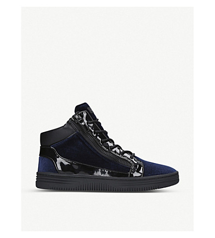 KURT GEIGER LONDON Jacobs velvet and patent trainers (Navy