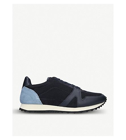 KURT GEIGER LONDON Lamont suede and mesh low-top trainers (Navy