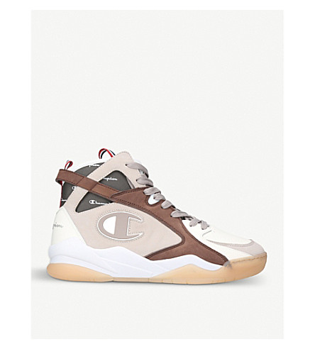 CHAMPION Zone 93 high-top leather and suede trainers (Cream+comb