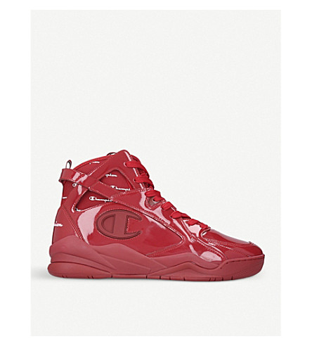 CHAMPION Zone '93 patent leather high-top trainers (Red