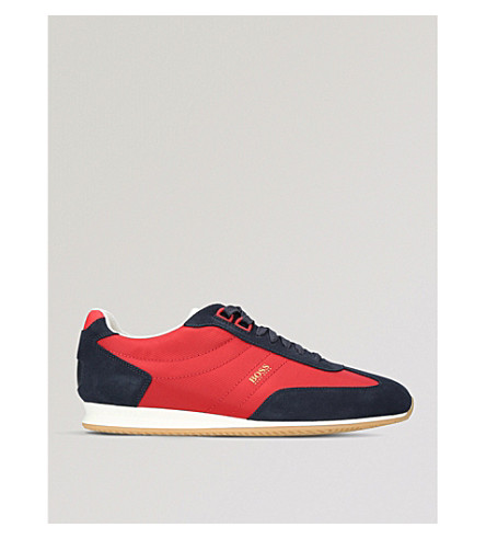 BOSS Orlando Retro suede trainers (Red