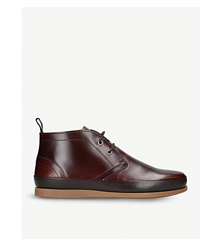 PAUL SMITH Cleon Chukka leather boots (Dark+brown