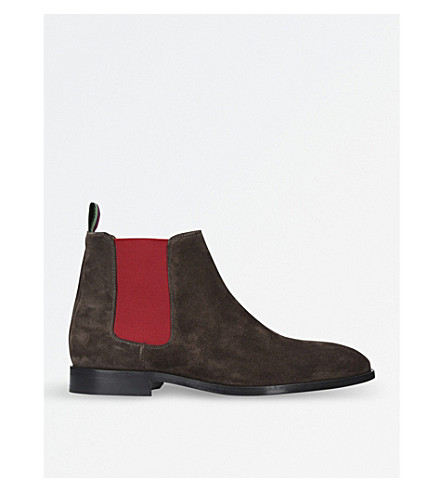 PAUL SMITH Gerald suede Chelsea boots (Dark+brown