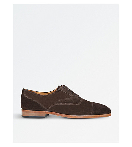 PAUL SMITH Tomkins suede Oxford shoes (Dark+brown
