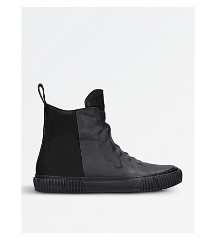 BOTH Leather and rubber high-top trainers (Black