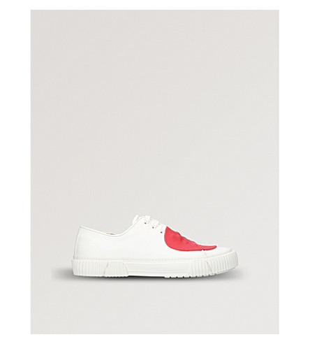 BOTH Rubber-detail leather trainers (White/red