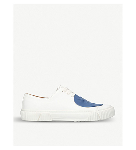 BOTH Rubber-detail leather trainers (White/comb