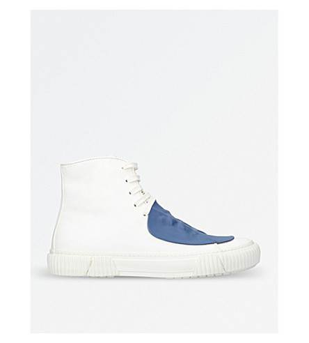 BOTH Rubber-detail leather high-top trainers (White/comb