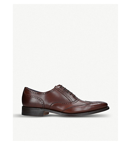 BARKER Leather oxford brogues (Dark+brown