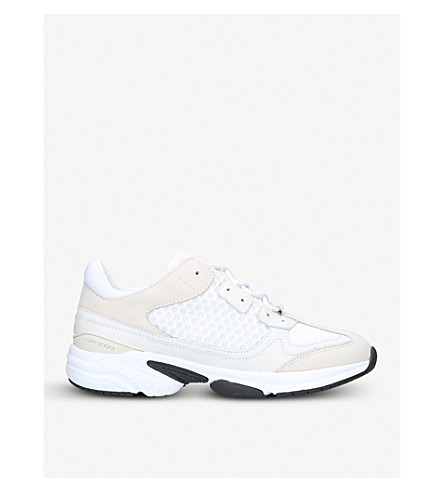 KURT GEIGER LONDON Ivanhoe leather and mesh trainers (White