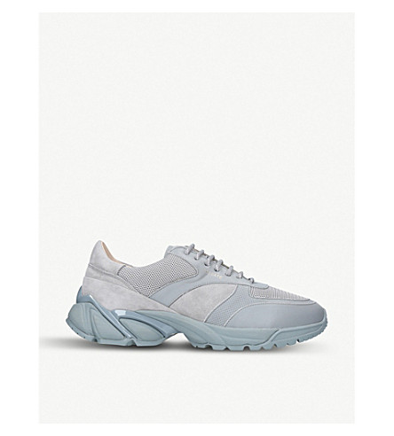 AXEL ARIGATO Tech Runner panelled suede and leather trainers (Grey