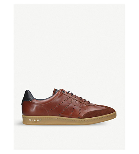 TED BAKER Orlee2 leather and suede trainers (Tan