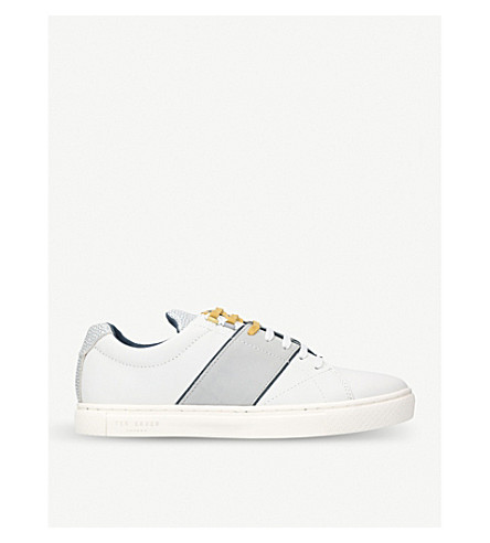 TED BAKER Quana leather low-top trainers (White