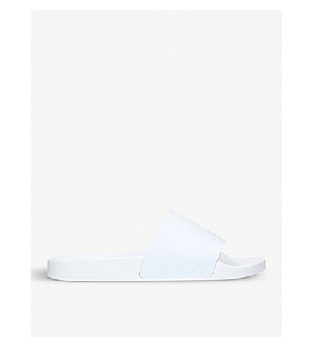 KURT GEIGER LONDON Waikato Palm rubber sliders (White