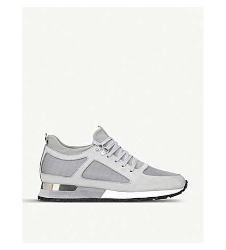 MALLET Diver leather and mesh trainers (Grey/light