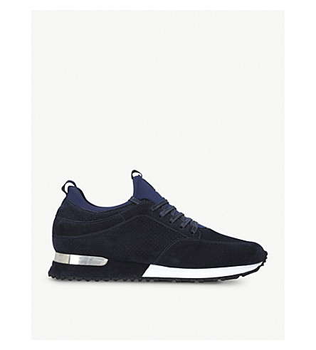 MALLET Archway suede and neoprene trainers (Navy