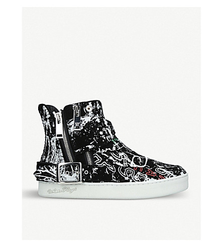 HACULLA Insanity Art graphic leather high-top trainers (Black