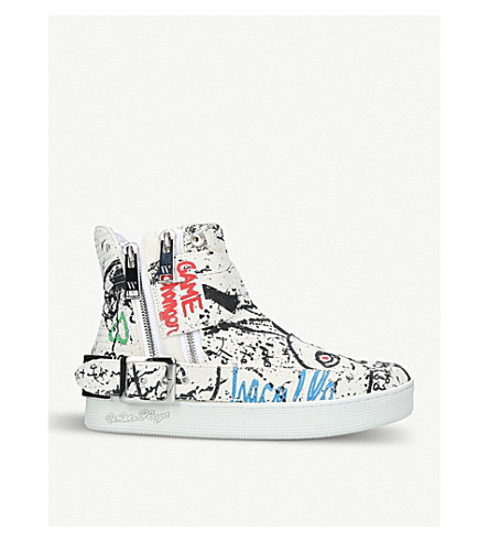 HACULLA Insanity Art graphic leather high-top trainers (White