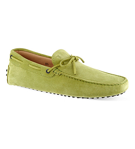 TODS 122 suede tie driving shoes (Lime