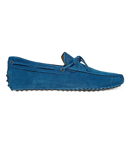 TODS Gommino Driving Shoes in Suede (Mid+blue