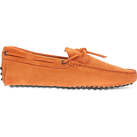 TODS Gommino Driving Shoes in Suede (Orange