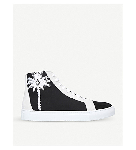 MARCELO BURLON Palm Coralie suede and canvas high-top trainers (Blk/white