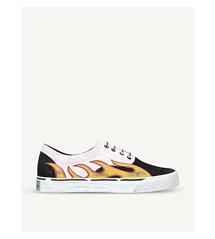 PALM ANGELS Flame-appliqué distressed canvas and suede trainers (Blk/white