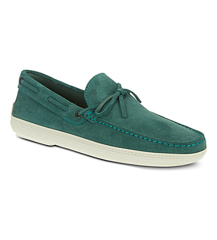 TODS Suede Loafers (Green