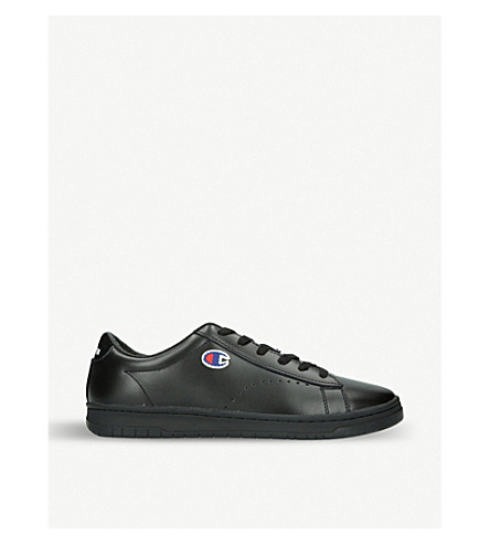 CHAMPION Logo-embroidered leather trainers (Black