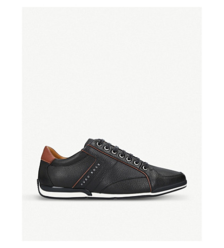 BOSS Saturn low-top leather trainers (Black